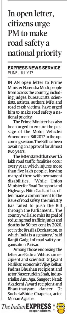 Open letter to Prime Minister on Road Safety - Indian Express